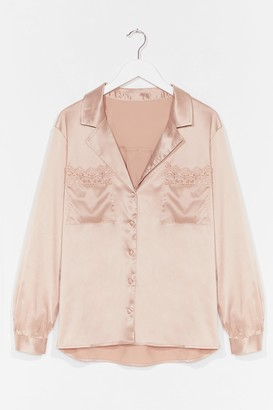 Nasty Gal Womens Lace Closed Satin Broderie Anglaise Shirt - Beige - M