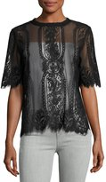 Neiman Marcus Mock-Neck Lace-Mesh Blouse Black