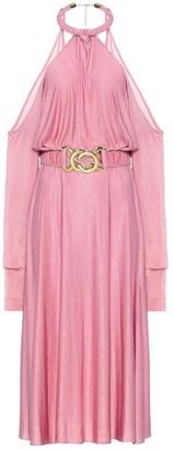 Dodo Bar Or Belted crepe-satin halterneck dress