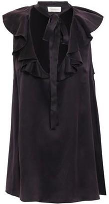 Zimmermann Ruffled Washed-silk Top