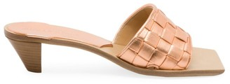 Bottega Veneta Bloc Woven Lame Leather Mules