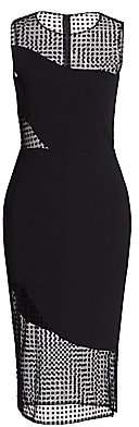 HANEY Women's Sleeveless Illusion Dot Bodycon Dress