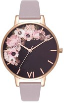 Olivia Burton Winter Garden Leather Strap Watch, 38mm