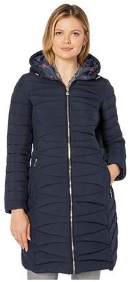 Bernardo Fashions EcoPlume Soft Touch Walker Coat /w Printed Liner (Deep Ocean Blue) Women's Jacket