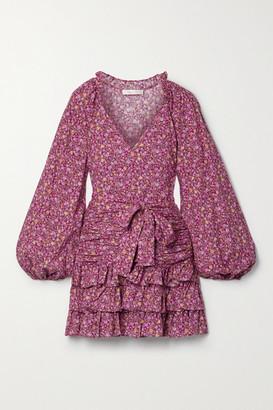 LoveShackFancy Rina Belted Ruffled Cotton Mini Dress