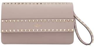Valentino Rockstud Leather Clutch - Womens - Nude