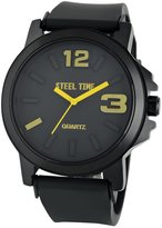 STEELTIME Men's Black and Yellow Metal Face Watch with Stainless Steel Backing and Black Rubber strap