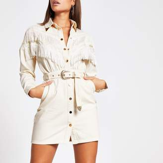 River Island Womens Ecru fringe front belted denim shirt dress