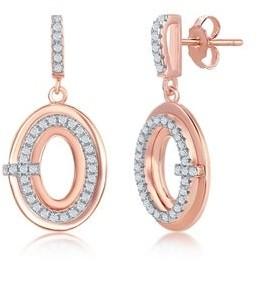 La Preciosa 925 Sterling Silver Rose Gold Plated High Polished Cubic Zirconia Oval Designers Dangling Earrings