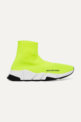 Balenciaga Speed Neon Logo-print Stretch-knit High-top Sneakers