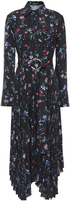 Markus Lupfer Asymmetric Pleated Floral-print Crepe De Chine Midi Dress