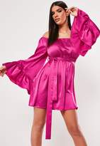 Missguided Fuchsia Bardot Flare Sleeve Satin Mini Dress