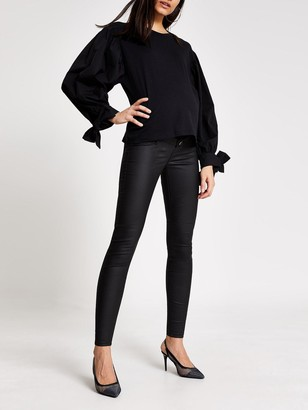 River Island Maternity Over Bump Coated Molly Jeggings - Black
