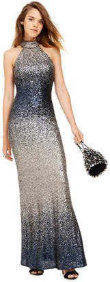 Betsy & Adam Ombre Sequined Gown