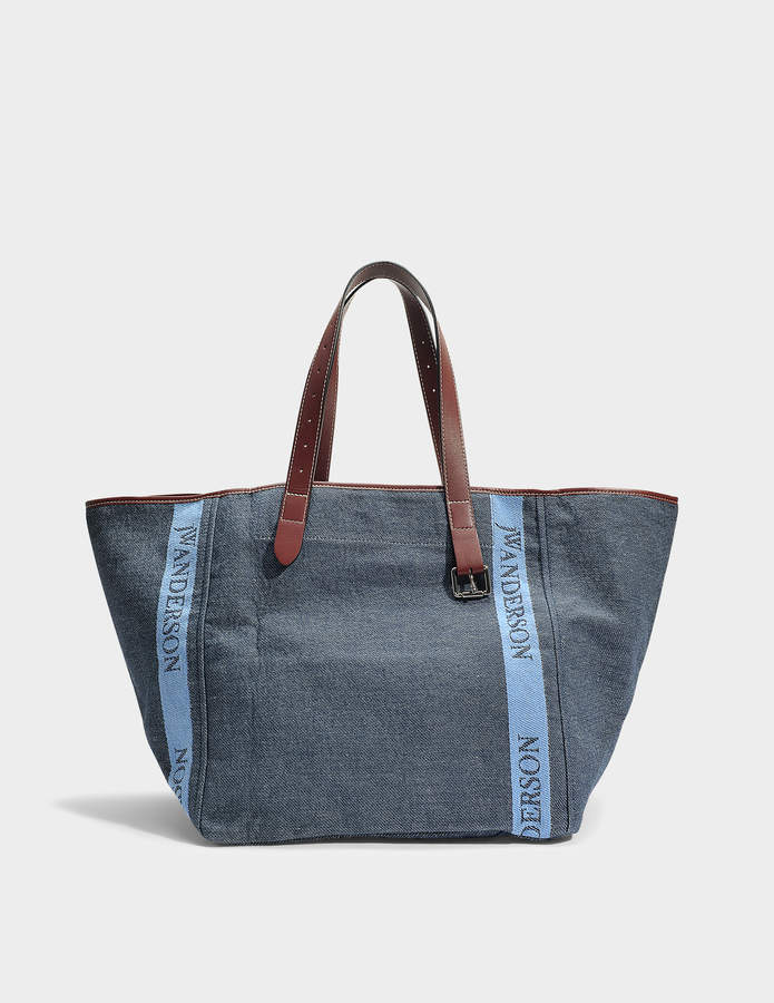 J.W.Anderson Logo Belt Tote Bag in Navy Cotton