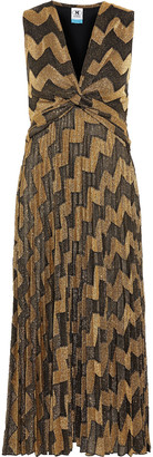M Missoni Twist-front Pleated Metallic Crochet-knit Midi Dress