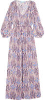 Melissa Odabash Alison Smocked Printed Voile Maxi Dress - Purple