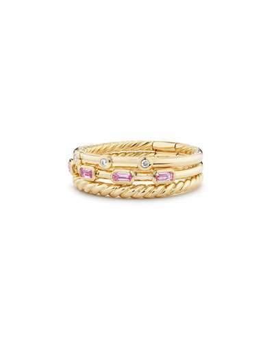 David Yurman Novella 18k Three-Row Ring w/ Pink Sapphires, Size 8