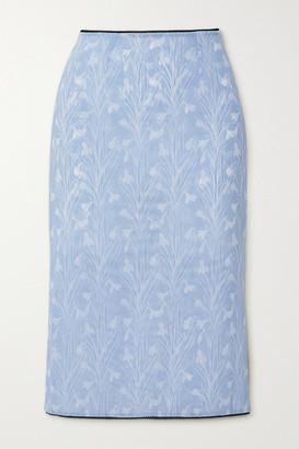 Miaou Moni Lace-trimmed Floral-print Stretch-mesh Skirt - Blue