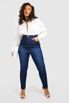 boohoo Plus High Rise 5 Pocket Skinny Jeans