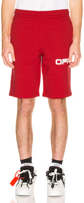 Off-White Airport Tape Sweatshorts in Red & Multi | FWRD