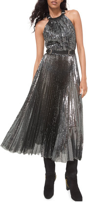 Michael Kors Collection Pleated Halter-Neck Embellished Midi Dress w/ Leather Belt