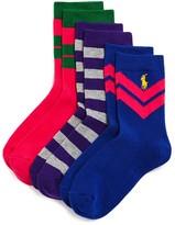 Ralph Lauren Girls' Varsity Stripe High Socks, 3 Pack - Sizes 4-6X, 8-9.5