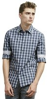 Kenneth Cole Reaction Men's Long Sleeve Mini Check Button Down Shirt with 2 Pockets