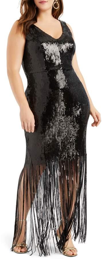 ELOQUII Sequin Fringe Maxi Dress