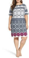 Eliza J Plus Size Women's Tile Graphic Print Jersey Shift Dress