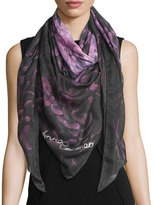 Anna Coroneo Floral Voile Square Scarf, Pink/Navy