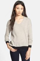 White + Warren Colorblock U-Neck Cashmere Sweater