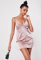 Missguided Petite Blush Satin Knot Front Mini Dress