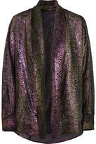 Pallas Metallic Printed Chiffon Blouse - Gunmetal