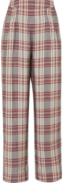 Markus Lupfer Molly Checked Crepe Trousers - Red