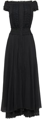 Charo Ruiz Ibiza Off-the-shoulder Guipure Lace-trimmed Cotton-blend Mousseline Maxi Dress