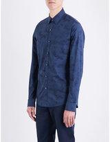 Michael Kors Water-print Slim-fit Cotton Shirt