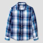 Cat & Jack Boys' Check Long Sleeve Button Down Shirt Cat & Jack - Navy/Red