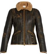 Maison Margiela Distressed shearling aviator jacket