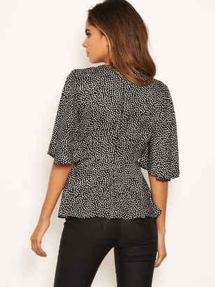 AX Paris Polka Dot Flared Top - Black