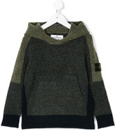 Stone Island Junior colour block knitted hoodie