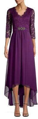 Eliza J Beaded Waist High-Low Cocktail Dress
