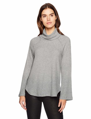 Michael Stars Women's Madison Brushed Sweater Rib Long Sleeve Turtleneck Raglan