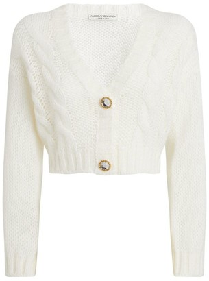 Alessandra Rich Embellished-Button Cropped Cardigan