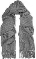 Rag & Bone Pinstriped Merino Wool Scarf - Gray