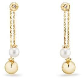 David Yurman Solari Chain Drop Earrings with Cultured Akoya Pearls and Diamonds in 18K Gold