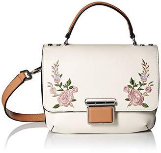 Calvin Klein Dani Hermine Leather Floral Embroidery Top Handle Flap Crossbody