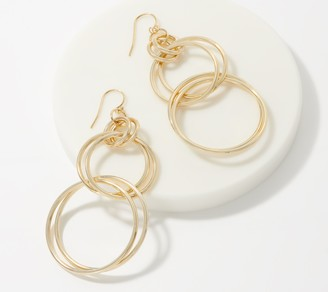 Gold One 1KT Gold Multi-Circle Drop Earrings