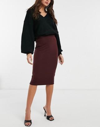 ASOS DESIGN jersey pencil midi skirt in burgundy