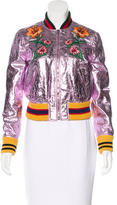 Gucci Pre-Fall 2016 Metallic Leather Bomber Jacket